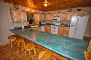 Spacious kitchen at Bear Britches Lodge in Pigeon Forge Tn