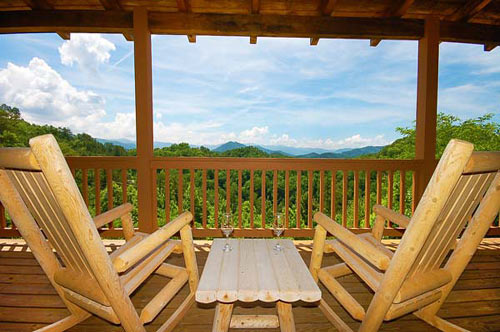 Chairs on the deck of the Black Bear Lodge cabin in Pigeon Forge.