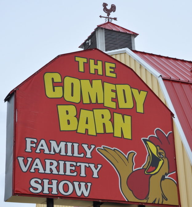 Sign at the Comedy Barn in Pigeon Forge TN