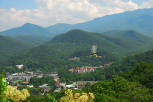Scenic photo of Gatlinburg in the mountains.