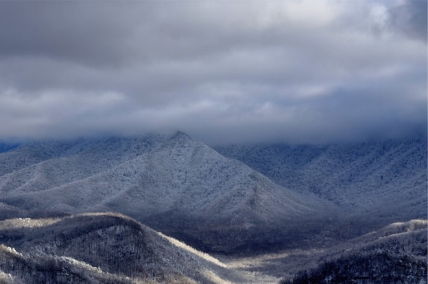 Snow covered mountains during winter in Pigeon Forge.