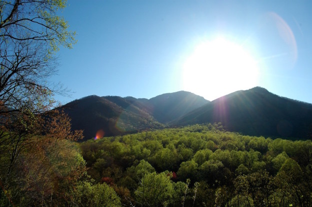 Stunning photo taken from one of our cabins with mountain views in Gatlinburg.