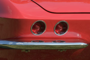 Tail light of a classic red Corvette in Pigeon Forge Tn