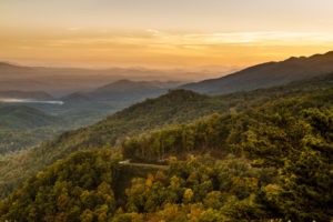 The Foothills Parkway West at sunset.