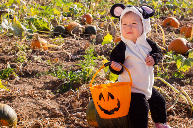 toddler celebrating Halloween in a Pigeon Forge cabin rental