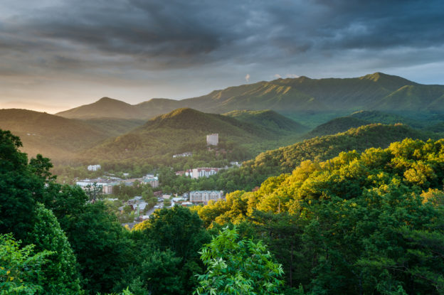 Stunning photo of Gatlinburg in the mountains at dawn.
